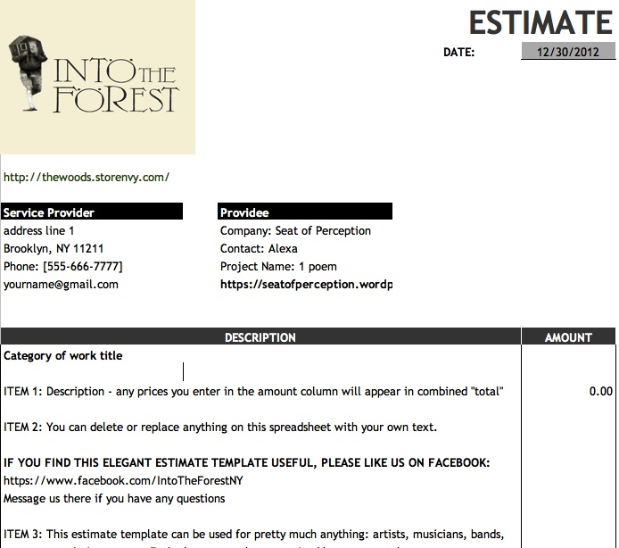 Free Work Estimate Template Google Docs Format  Into The Forest
